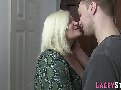 Chunky grandma gobbles cock and gets plowed